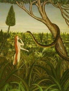El primer ejemplo de utilización de la comida como simbología de   la doctrina cristiana fué la manzana del jardín del Edén