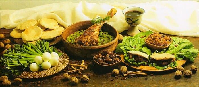Recreación de la comida que se sirvió en la Última Cena