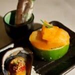 Mejillón Nam-Jim, Kimuchi de Zamburiñas y Ensalada vietnamita de lomo de buey marinado en lemongras envuelta en camisa de pasta de arroz