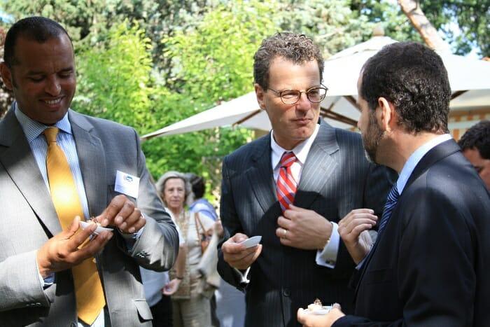 Embajador de Canadá en España con Lukas Webb, Gerente de Ventas para Europa de Clearwater Fine Foods, y Favio Goni, manager de Clearwater para España