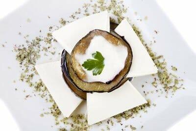 Lasaña de berenjenas y queso de Burgos