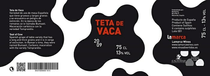 "Etiqueta de ""Teta de Vaca"""