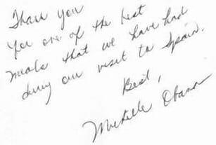 Firma de Michelle Obama en el Libro de Honor del restaurante