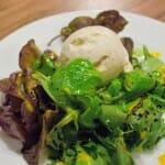 Ensalada templada con helado de boletus y aceite de mango