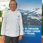 Coincidimos en el Hotel Palace de Lucerna con el laureado chef Reto Mathis, de St Moritz, que ofrecía una presentación de sus platos
