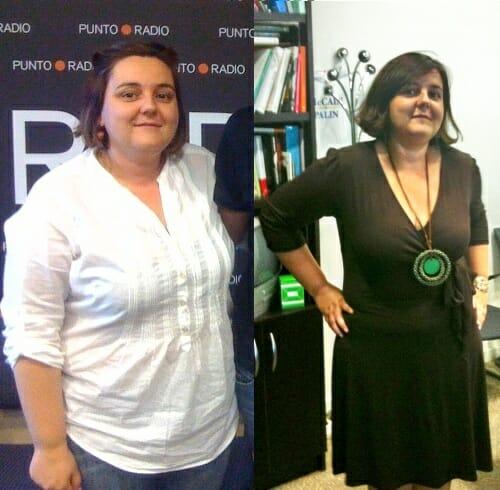 Entre la primera foto, del 3 de Mayo, y la segunda, del 6 de Julio, hay 20 kilos y 3 tallas de diferencia