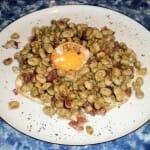 Huevo con habitas. Restaurante Cosme Palacio. Laguardia