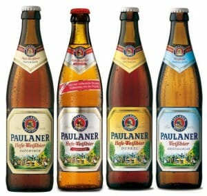 De izquierda a derecha Hefe-Weißbier CON, Hefe-Weißbier SIN, Hefe-Weißbier Dunkel y Hefe-Weißbier Kristallklar