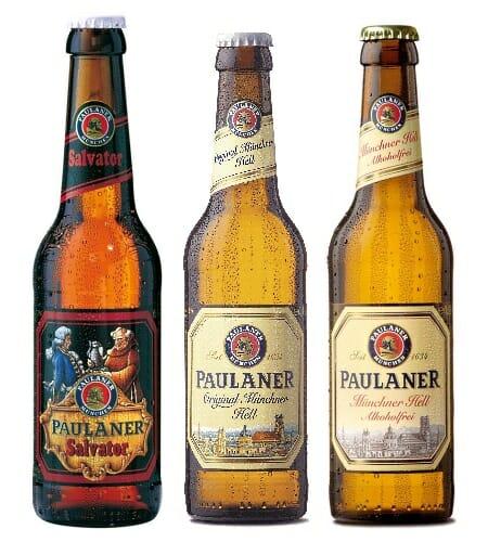 De izquierda a derecha, Paulaner Salvator, Paulaner Original Münchner y Paulaner Original Münchner SIN