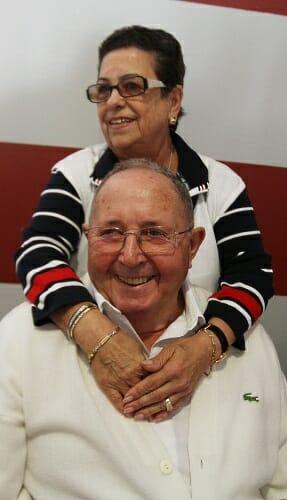 Manuel Cores y Josefa Muñiz, durante el homenaje