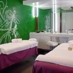 Vista de una de las salas de masaje del Wine Oil Spa del Hotel Villa de Laguardia