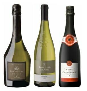 """De izquierda a derecha: Vouvray Brut Excellence de Channency, Chenin blanc """"Saumur-Champigny Cuvée Signée par Éric Laurent"""" y Cuvee de la Chevalerie"""