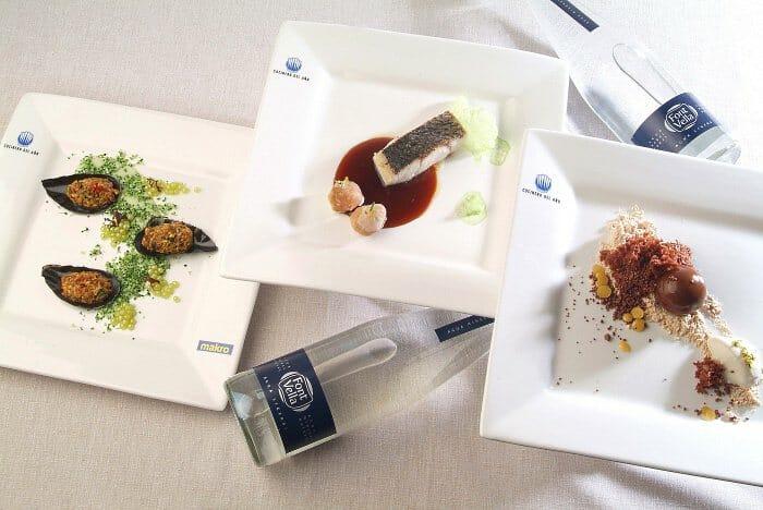 Montaje con los tres platos presentados por el chef del restaurante Samsha