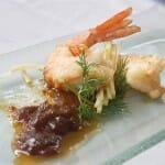 Chunday de gengibre con langostino en tempura