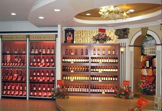 Detalle de una vinoteca china
