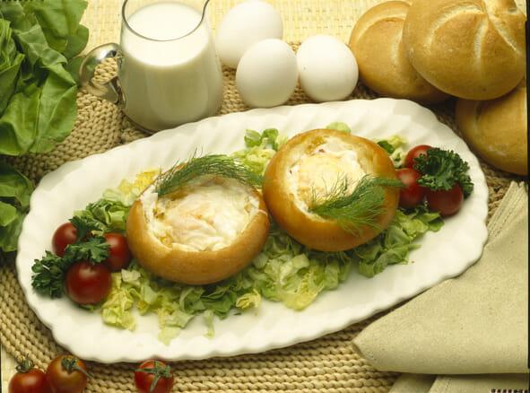 Huevos fritos en pan