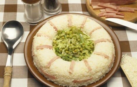 Arroz con jamón cocido y verduritas
