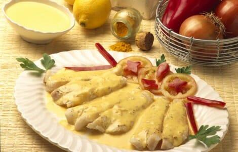 Filetes de lenguado con salsa de curry