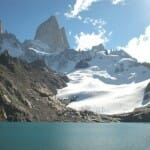 El Poincenot, el Fitz Roy, el glaciar y la laguna de los Tres