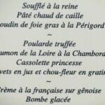 Menu del S.XIX del castillo de Valençay