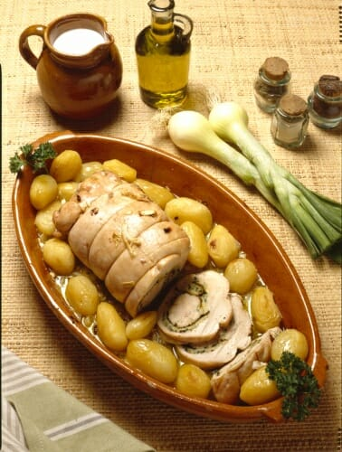 Receta de redondo de pechuga de pavo con patatas cocidas for Como cocinar pechuga de pavo