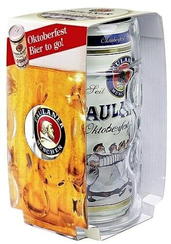 """ccEl kit """"Wiesn to go"""" de Paulaner contiene una lata de un litro de una edición limitada de cerveza Oktoberfest y una jarra"""