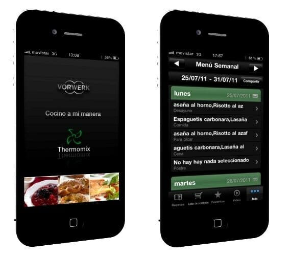 Dos pantallas de la nueva aplicación de Thermomix para el iPhone, iPod e iPad