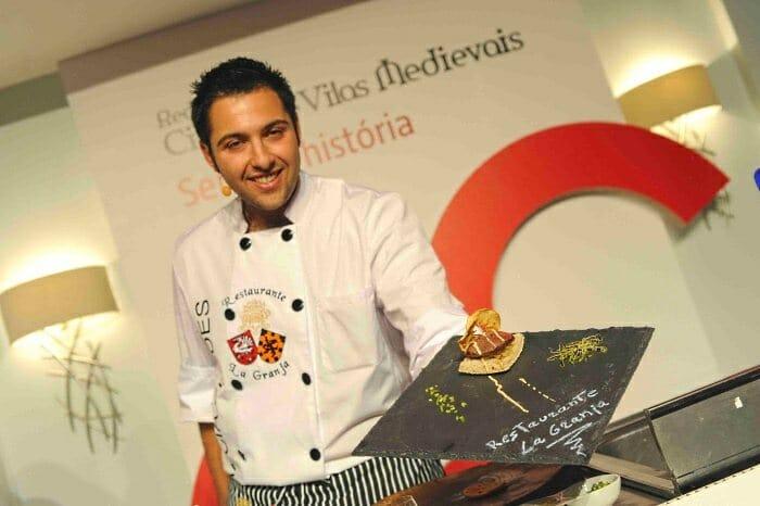 Santos García Verdes, del Restaurante La Granja de Alcuneza, de Sigüenza, participó en el show-cooking
