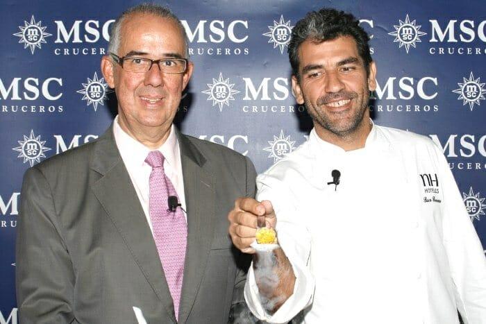 Emiliano González, Director General de MSC Cruceros, junto a Paco Roncero durante la presentación del nuevo crucero enogastronómico