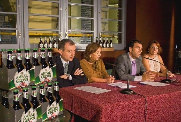 Fumanal, Tricas, Torguet y Teruel durante la presentación de Ambar Green 0,0 Apta para Celíacos