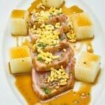 Tacos de atún rojo con Teriyaki y arroz suflado