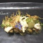 Espardeñas con coca vegetal de alcachofas y patata