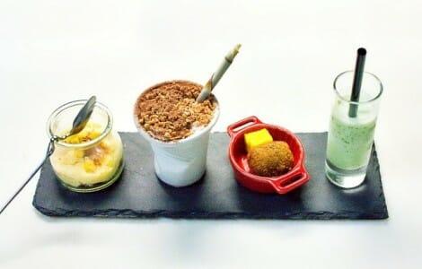 Los cuatro postres que pudimos degustar en la Gastrocroquetería de Chema
