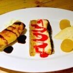 Surtido de postres: Filloas, Tarta de queso y Queso de Arzua con membrillo