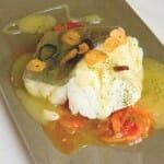 Bacalao a la Riojana, con salsas de pimientos y al pil-pil