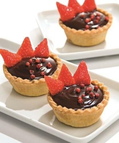 Tartaletas de chocolate con fresas