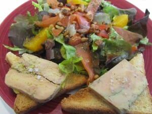 Ensalada de ahumados y foie-gras. Hôtel Padoue