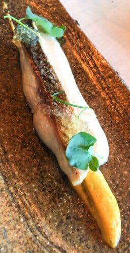 Mujol asado a la sartén con salsa de levadura, puré de maíz y perla de lúpulo gallego