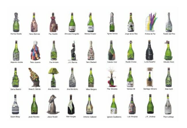 Algunas de las botellas expuestas en Burbujas Solidarias