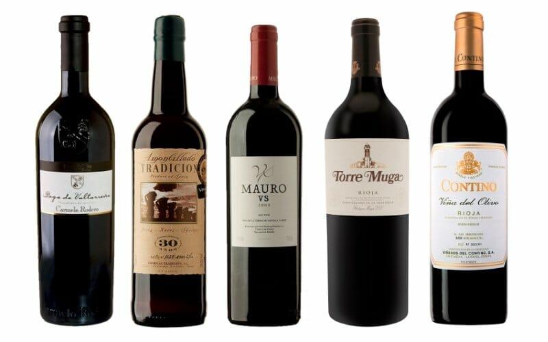 Los cinco primeros vinos de la lista, con 99 puntos y el precio más económico