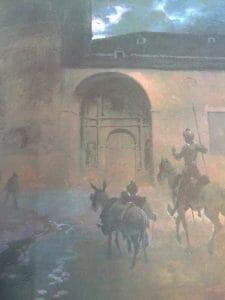 Sancho y don Quijote llegando a una venta