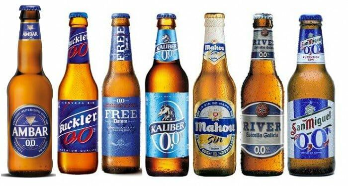 Foto de familia de las cervezas SIN por orden alfabético de sus compañías cerveceras