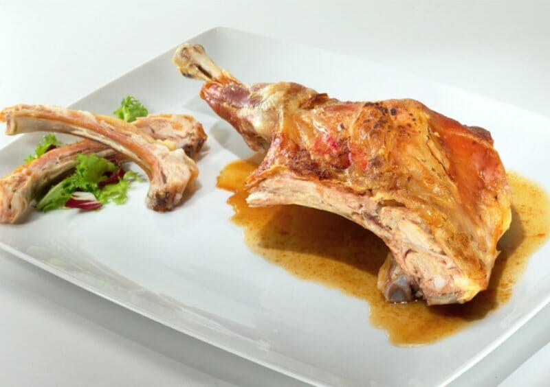 Castilian style roasted baby lamb, a traditional Spanish dish