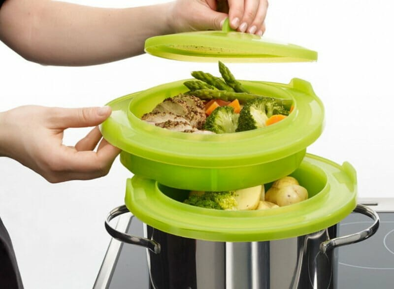 Vaporera de silicona: cocina varios platos a la vez sin cazuelas especiales