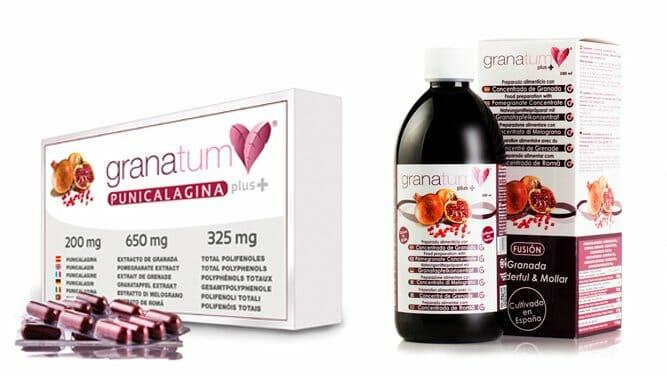 Extracto de granada en cápsulas y zumo de Granatum Plus