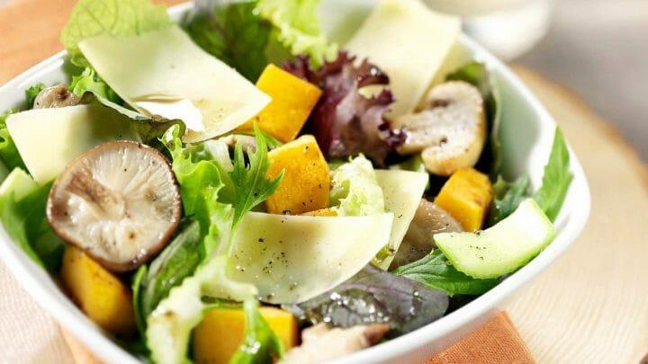 Receta de ensalada de Calabaza con champiñones y Le Gruyère