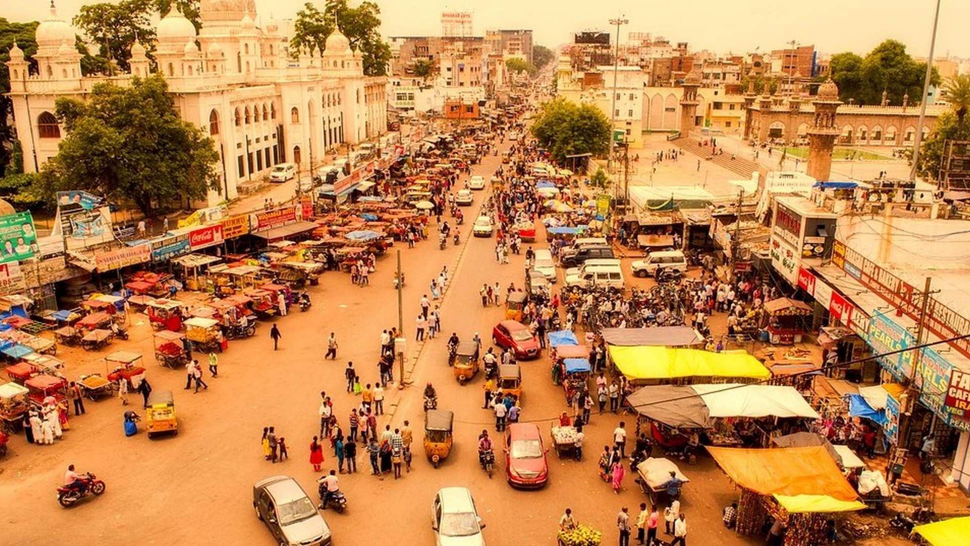 Uno de los grandes mercados de comida de La India