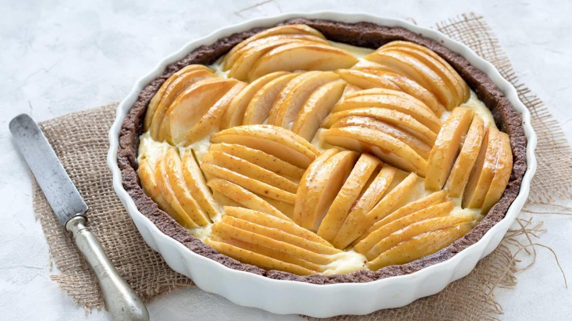 receta tarta cacao y manzana